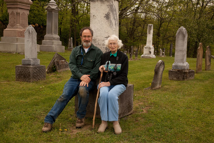 Bob and Trella at Thew Cemetery May 7, 2010